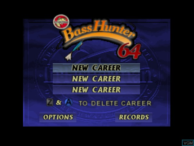 Image du menu du jeu Bass Hunter 64 sur Nintendo 64