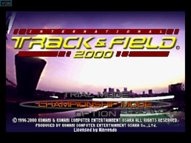 Image du menu du jeu International Track & Field 2000 sur Nintendo 64