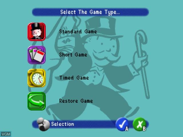 Image du menu du jeu Monopoly sur Nintendo 64