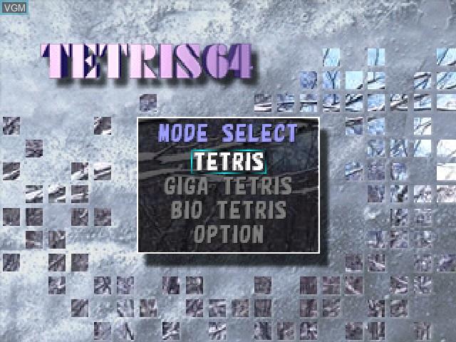 Image du menu du jeu Tetris 64 sur Nintendo 64