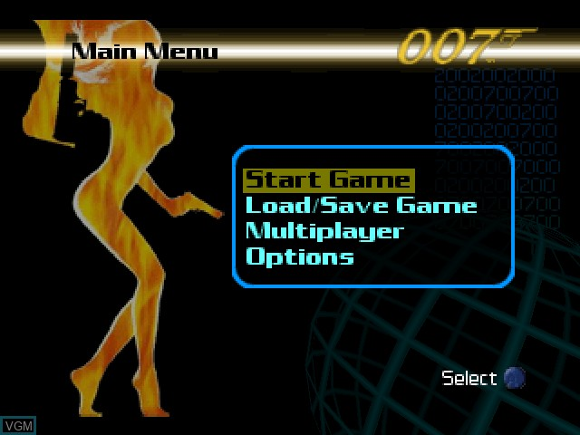 Image du menu du jeu 007 - The World is Not Enough sur Nintendo 64