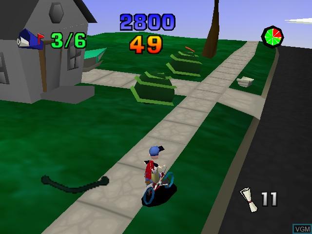 Image in-game du jeu Paperboy sur Nintendo 64