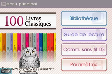 Image de l'ecran titre du jeu 100 Livres Classiques sur Nintendo DS