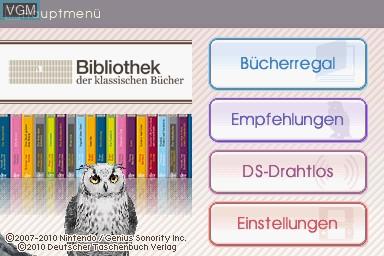 Image de l'ecran titre du jeu Bibliothek der Klassischen Buecher sur Nintendo DS