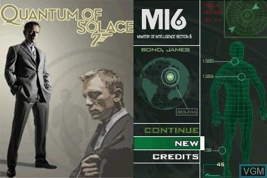 Image de l'ecran titre du jeu 007 - Quantum of Solace sur Nintendo DS