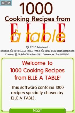 Image de l'ecran titre du jeu 1000 Cooking Recipes from Elle a Table sur Nintendo DS