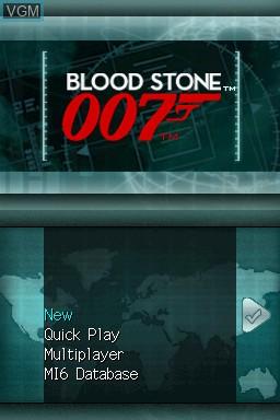 Image de l'ecran titre du jeu 007 - Blood Stone sur Nintendo DS