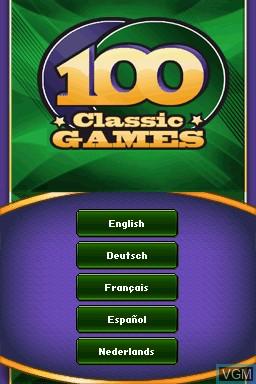 Image de l'ecran titre du jeu 100 Classic Games sur Nintendo DS