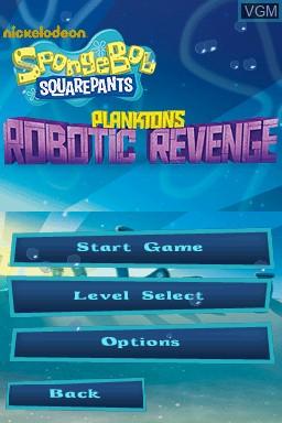 Image de l'ecran titre du jeu SpongeBob SquarePants - Plankton's Robotic Revenge sur Nintendo DS