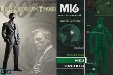Image de l'ecran titre du jeu 007 - Ein Quantum Trost sur Nintendo DS