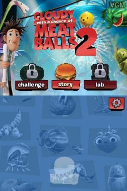 Image de l'ecran titre du jeu Cloudy with a Chance of Meatballs 2 sur Nintendo DS