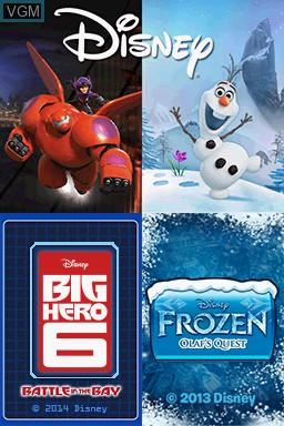 Image de l'ecran titre du jeu Disney Two Pack - Frozen Olaf's Quest + Big Hero 6 - Battle in the Bay sur Nintendo DS