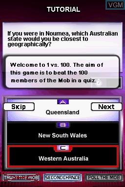 Image du menu du jeu 1 vs 100 sur Nintendo DS