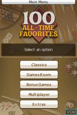 Image du menu du jeu 100 All-Time Favorites sur Nintendo DS