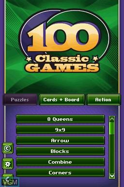 Image du menu du jeu 100 Classic Games sur Nintendo DS