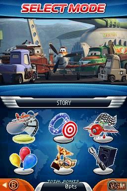 Image du menu du jeu Disney Planes sur Nintendo DS