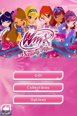 Image du menu du jeu Winx Club - Saving Alfea sur Nintendo DS
