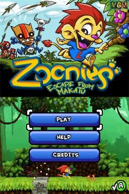 Image de l'ecran titre du jeu Zoonies - Escape from Makatu sur Nintendo DSi