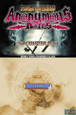 Image de l'ecran titre du jeu Anonymous Notes - Chapter 2 - From the Abyss sur Nintendo DSi
