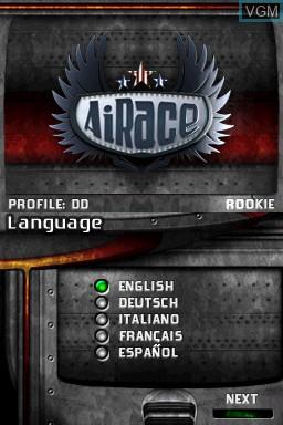 Image de l'ecran titre du jeu AiRace sur Nintendo DSi