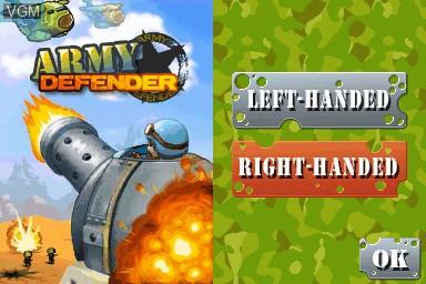 Image de l'ecran titre du jeu Army Defender sur Nintendo DSi