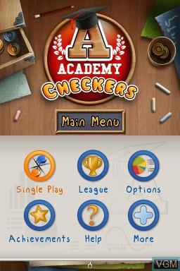 Image de l'ecran titre du jeu Academy - Checkers sur Nintendo DSi