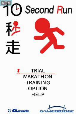 Image de l'ecran titre du jeu GO Series - 10 Second Run sur Nintendo DSi
