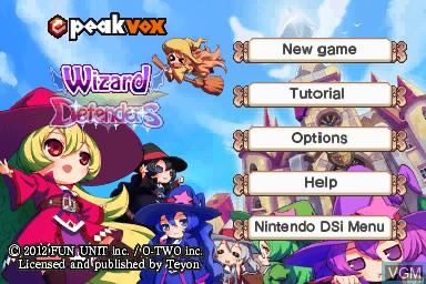 Image de l'ecran titre du jeu Wizard Defenders sur Nintendo DSi