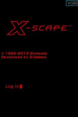 Image de l'ecran titre du jeu X-Scape sur Nintendo DSi