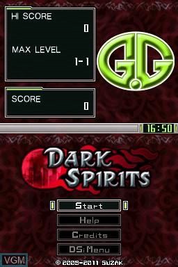 Image de l'ecran titre du jeu G.G Series - Dark Spirits sur Nintendo DSi