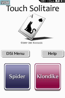 Image de l'ecran titre du jeu Touch Solitaire sur Nintendo DSi