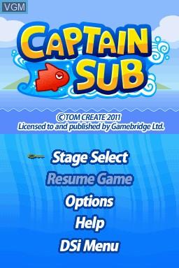 Image de l'ecran titre du jeu GO Series - Captain Sub sur Nintendo DSi