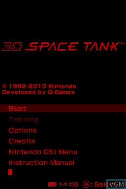 Image du menu du jeu 3D Space Tank sur Nintendo DSi