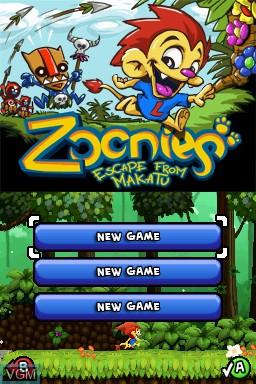 Image du menu du jeu Zoonies - Escape from Makatu sur Nintendo DSi
