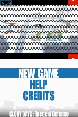 Image du menu du jeu Glory Days - Tactical Defense sur Nintendo DSi