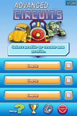 Image du menu du jeu Advanced Circuits sur Nintendo DSi
