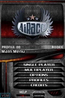Image du menu du jeu AiRace sur Nintendo DSi