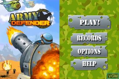 Image du menu du jeu Army Defender sur Nintendo DSi