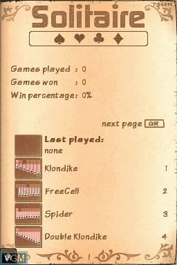 Image du menu du jeu 24-7 Solitaire sur Nintendo DSi