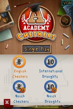 Image du menu du jeu Academy - Checkers sur Nintendo DSi