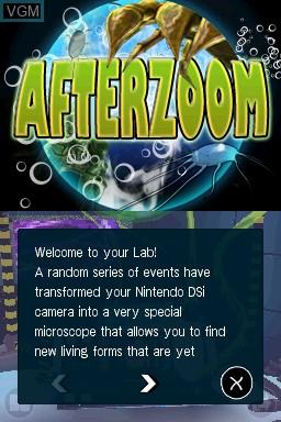 Image du menu du jeu Afterzoom sur Nintendo DSi