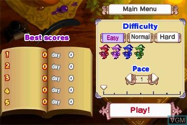 Image du menu du jeu Wizard Defenders sur Nintendo DSi