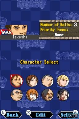 Image du menu du jeu Absolute BrickBuster sur Nintendo DSi