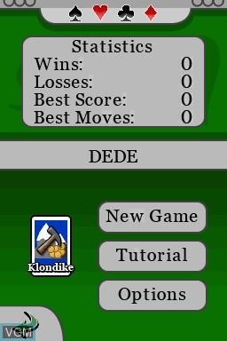 Image du menu du jeu 5 in 1 Solitaire sur Nintendo DSi