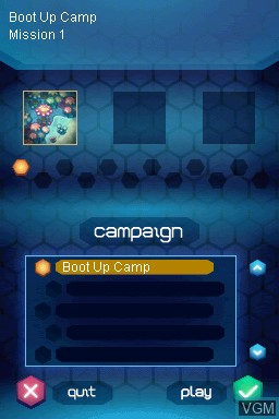 Image du menu du jeu Amoebattle sur Nintendo DSi