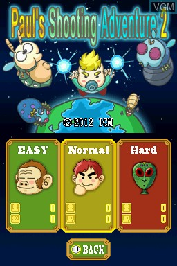 Image du menu du jeu Paul's Shooting Adventure 2 sur Nintendo DSi
