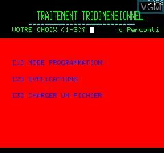 Image de l'ecran titre du jeu 3D Editor by Loriciel sur Tangerine Computer Systems Oric