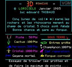 Image de l'ecran titre du jeu 3D Fongus sur Tangerine Computer Systems Oric