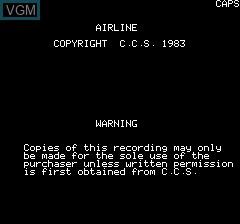 Image de l'ecran titre du jeu Airline sur Tangerine Computer Systems Oric