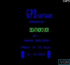 Image de l'ecran titre du jeu Death Driver sur Tangerine Computer Systems Oric